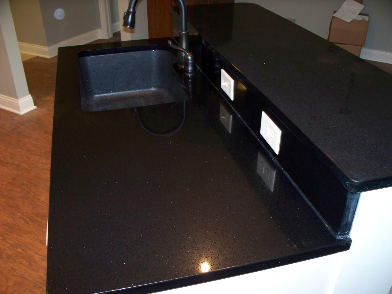 Black Quartz Countertops : Scratches repaired on black night quartz countertop
